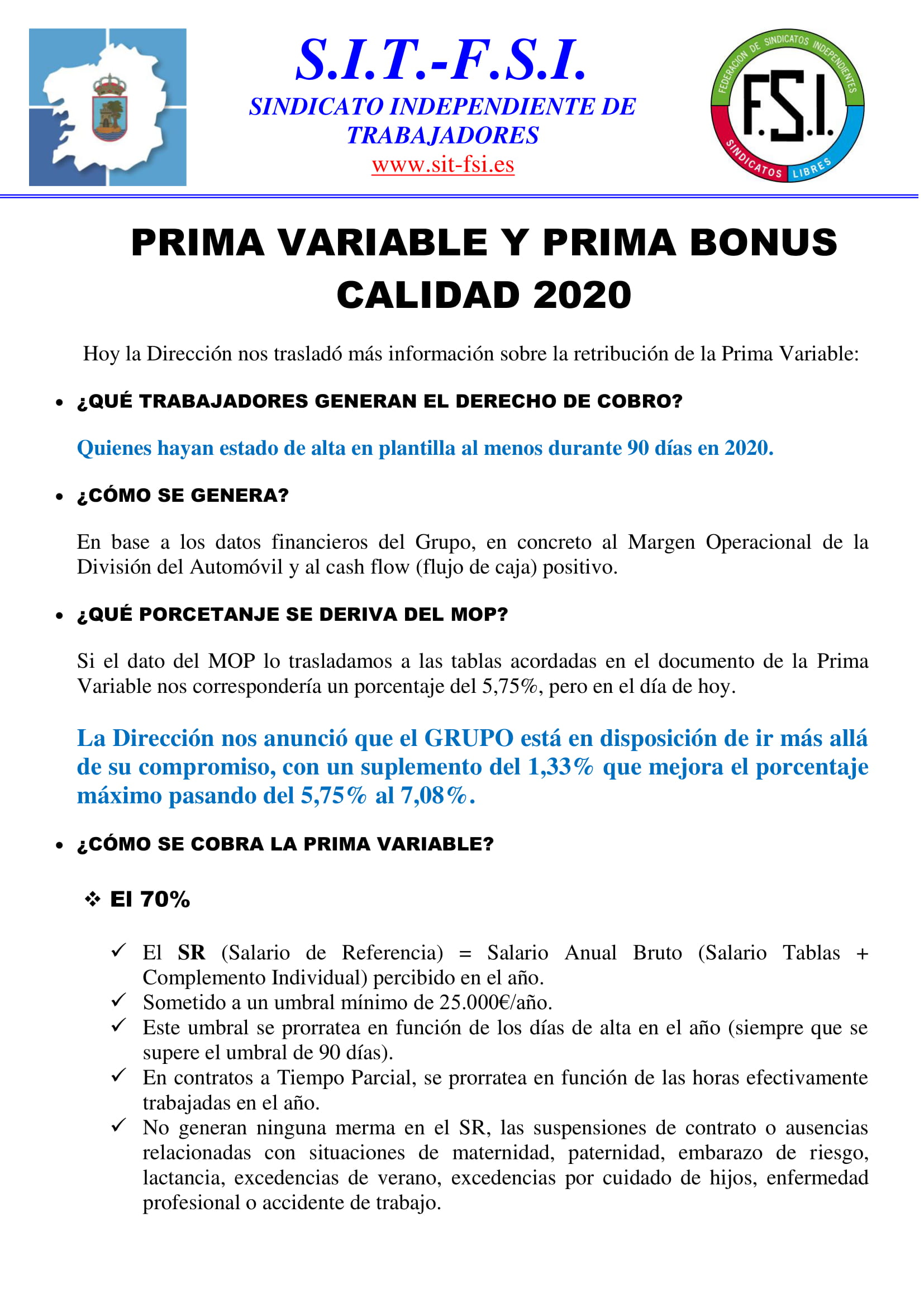 PRIMA VARIABLE Y BONUS CALIDAD 2020